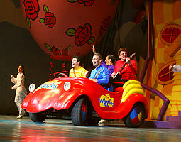 Wiggles in little red car on stage