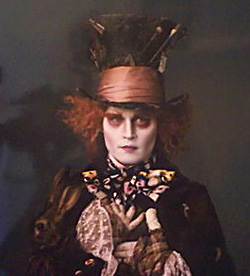 Johnny Depp as the Mad Hatter in Tim Burton's 2010 Alice in Wonderland flick.