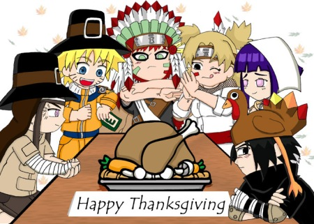 Naruto & Ninja pals at Thanksgiving table.